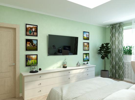 spalnya zelenye steny